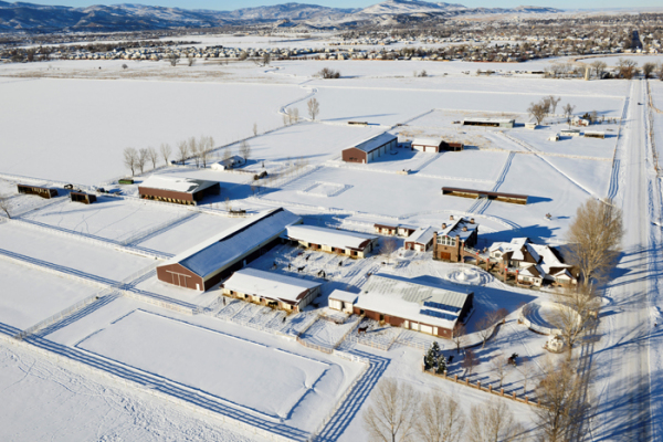 Aerial photo of Lucky Three Ranch in the snow
