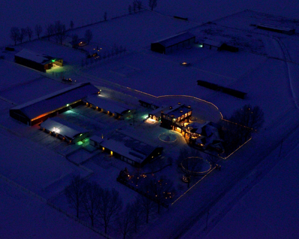 Aerial photo of Lucky Three Ranch at night